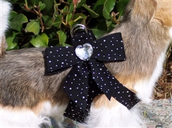 Black Silver Stardust Tail Bow Heart Pure & Simple Step-In Harnesses