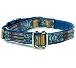 "5/8"" Small Breed Tribal Blue Satin Lined Collars"