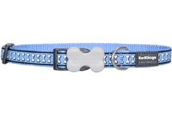 Reflective Lots-a-Bones Mid-Blue Dog Collars, Leashes, & Harnesses