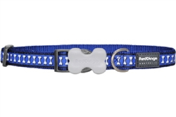 Reflective Lots-a-Bones Dark Blue Dog Collars, Leashes, & Harnesses