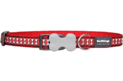 Reflective Lots-a-Bones Red Dog Collars, Leashes, & Harnesses