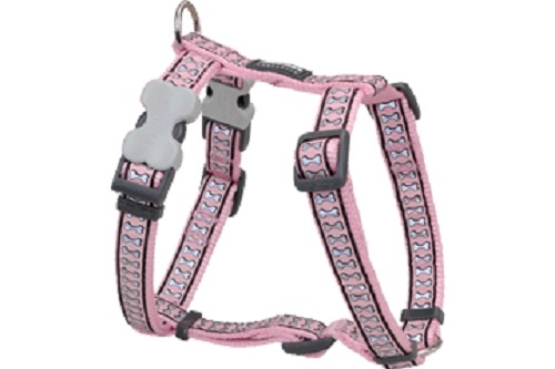 Reflective Lots-a-Bones Pink Dog Collars, Leashes, & Harnesses