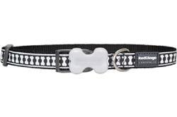 Reflective Lots-a-Bones Black Dog Collars, Leashes, & Harnesses