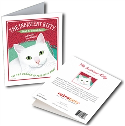 "Cat - Insistent Kitty GREETING CARD ""Corner of Feed Me & Now"""