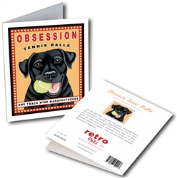 Labrador, Black - Obsession Tennis GREETING CARD - 6 Cards