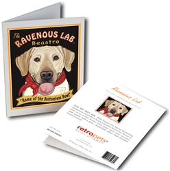 Ravenous Lab Beastro GREETING CARD (Yellow Lab) Home of the Bottomless Bowl