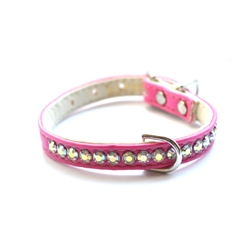 Jackie O Single Row Vegan Dog Collar - Hot Pink