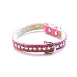 Jackie O Single Row Vegan Dog Collar - Hot Pink