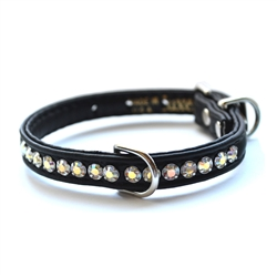 Jackie O Single Row Vegan Dog Collar _black