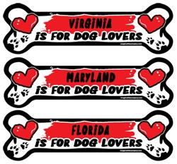 State Dog Lover Bone Magnets