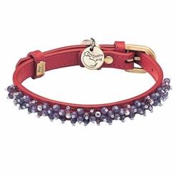Mini Beads Collar & Leash - Red/Amethyst