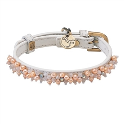 Mini Beads Collar & Leash - White/Pearl & Rose Quartz
