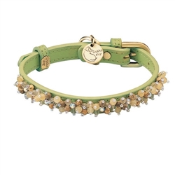 Mini Beads Collar & Leash - Green/Yellow Jade & Picture Jasper