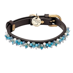 Mini Beads Collar & Leash - Brown/Turquoise