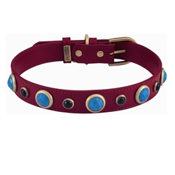 Red Imperial Collar and Leash - Turquoise & Onyx