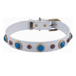 White Imperial Collar & Leash - Turquoise