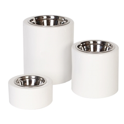 High-Rise White Dog Bowls