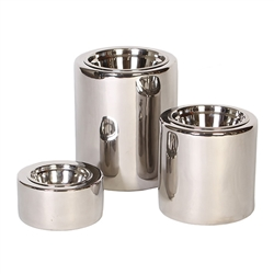 High-Rise Nickel Dog Bowls