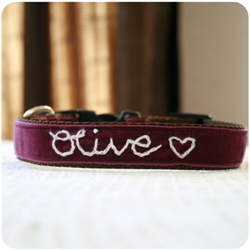'Olive' Personalized Dog Collar