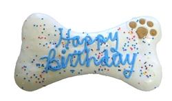 """8"""" Happy Birthday Dog Bone Blue"""