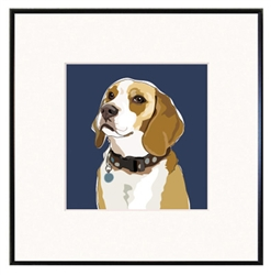 Framed Print: Beagle Head Up Portrait