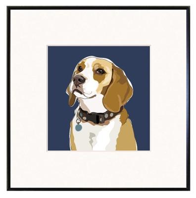 Framed Print: Beagle Head Up Portrait
