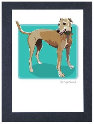 Greyhound, Tan - Grrreen Boxed Note Cards