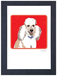 Poodle, White Smile - Grrreen Boxed Note Cards