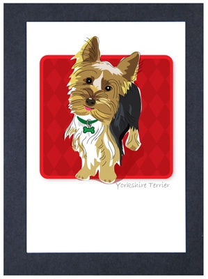 Yorkie Tongue Out - Grrreen Boxed Note Cards