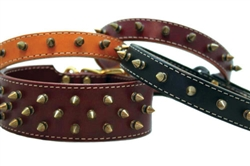 Heirloom Spike Leather Collars w/1-Row of Spikes