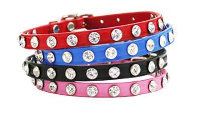 Minnie Maddie Leather Dog Collars w/ Swarovski Crystals