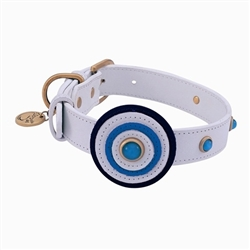 Happy Camper Collar & Leash - White Blue Circle