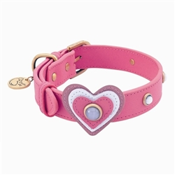 Happy Camper Collar & Leash - Dark Pink Heart
