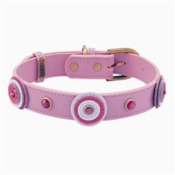 Happy Camper Collar & Leash - Light Pink Triple Circle