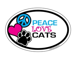 Peace Love Cats - Oval Magnets
