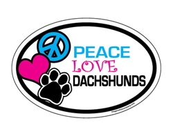 Peace Love Dachshunds - Oval Magnets