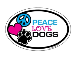 Peace Love Dogs - Oval Magnets