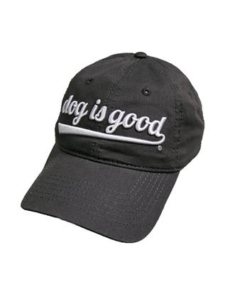 Unisex Hat, One size fits all, Charcoal Gray Cap with Light Gray Script