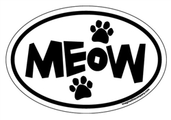 """meow"" Oval Magnets - White Background"