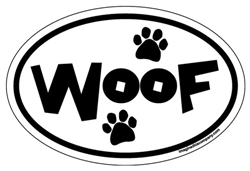 """woof"" Oval Magnets - White Background"