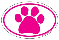 Pink Paw Oval Magnets