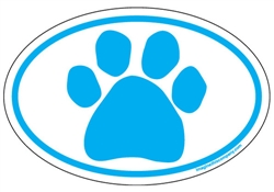Blue Paw Oval Magnets