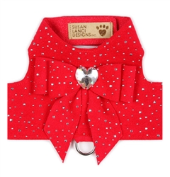 Red Tail Bow Heart Bailey Harness with Silver Stardust