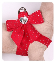 Red Step-In Harnesses w/ Silver Stardust & Tail Bow Heart