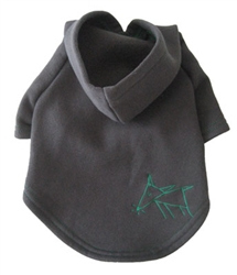 Sniffing Dog Hoodies - Charcoal Grey/Green Stitching