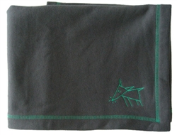 Sniffing Dog Cozy Blankets - Charcoal Grey/Green Stitching