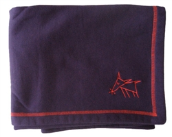 Sniffing Dog Cozy Blankets - Deep Purple/Red Stitching