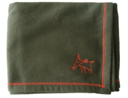 Sniffing Dog Cozy Blankets - Army Green/Orange Stitching