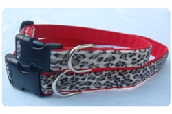 Slate Leopard on Red Collar - Black clasp w/nickel D ring