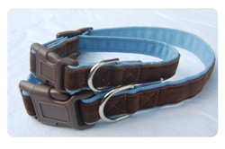 Chocolate on Air Blue Collar - Brown clasp w/nickel D ring